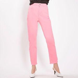 Topshop straight leg pink denim jeans w/raw hem